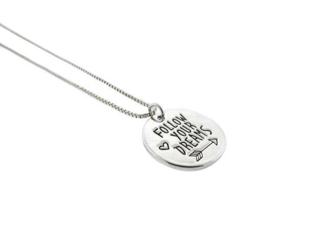 Envious Gems Follow Your Dreams Silver Plated Disc Pendant Necklace