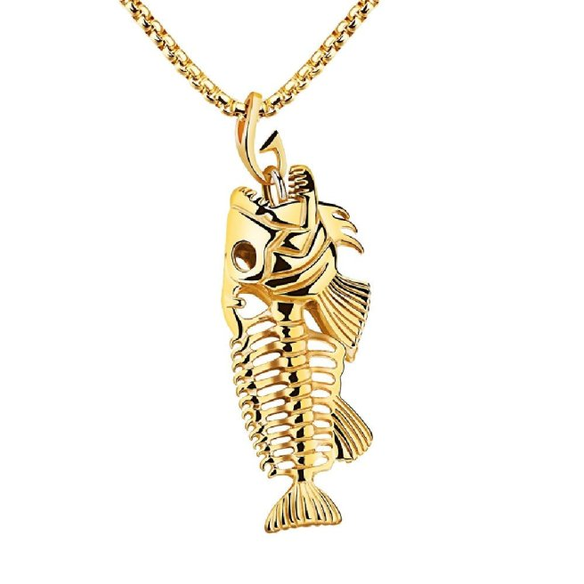 Envious Gems Gold Stainless Steel Large Fish Bone Skeleton Pendant Necklace