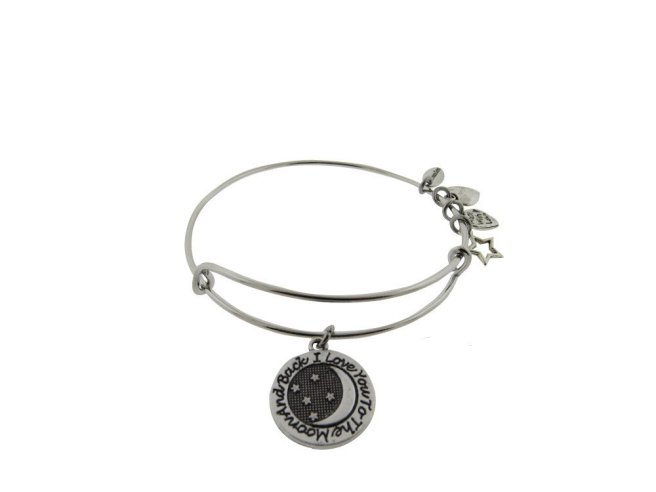 Envious Gems I Love You to The Moon and Back Silver Tone Expandable Wire Bracelet