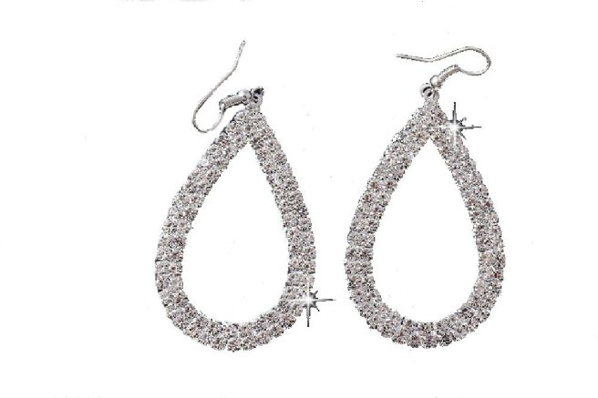 Envious Gems Large Silver Plated Crystal Open Teardrop Earrings