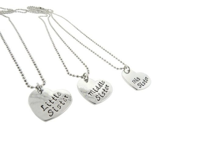 Envious Gems Little Sister Middle Sister Big Sister Silver Plated Heart Pendant Necklace Set