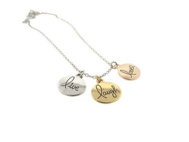 Envious Gems Live Laugh Love Tri-Color Plated Disc Pendant Necklace
