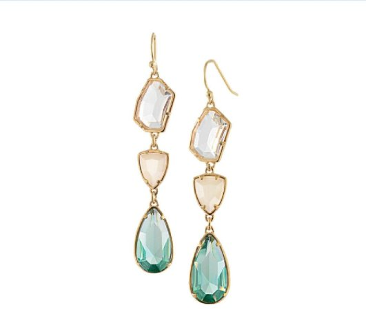 Envious Gems Natural Crystal Drop natural Gold Plated Earrings