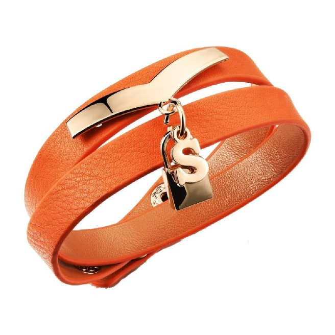 Envious Gems S Lock Orange Pebbled Leather Wrap Bracelet