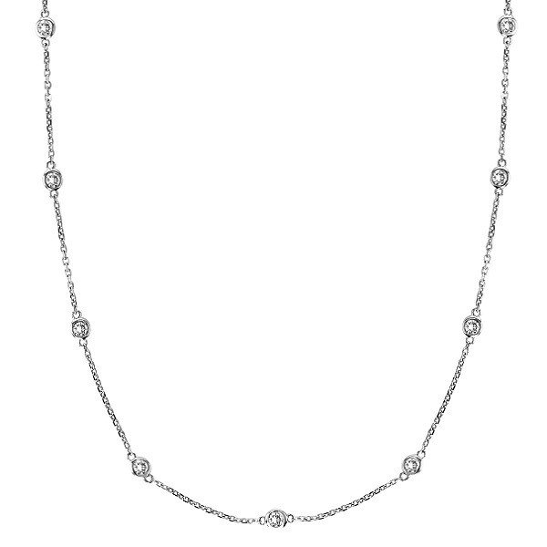 Envious Gems Sterling Silver 24 Diamonds by The Yard Necklace