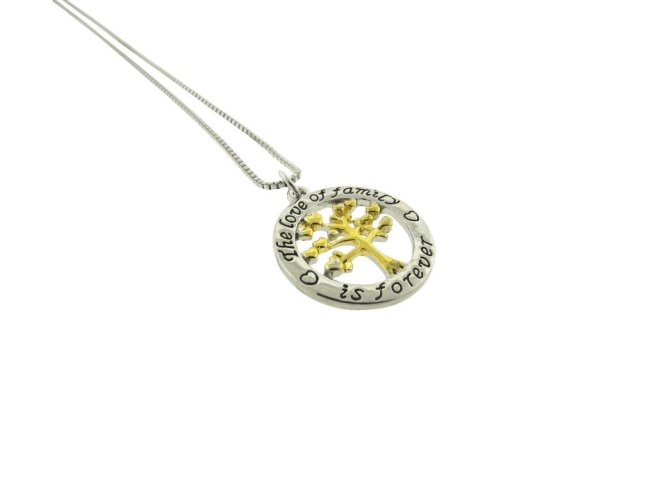 Envious Gems The Love of Family is Forever Family Tree Silver Gold Plated Pendant Necklace