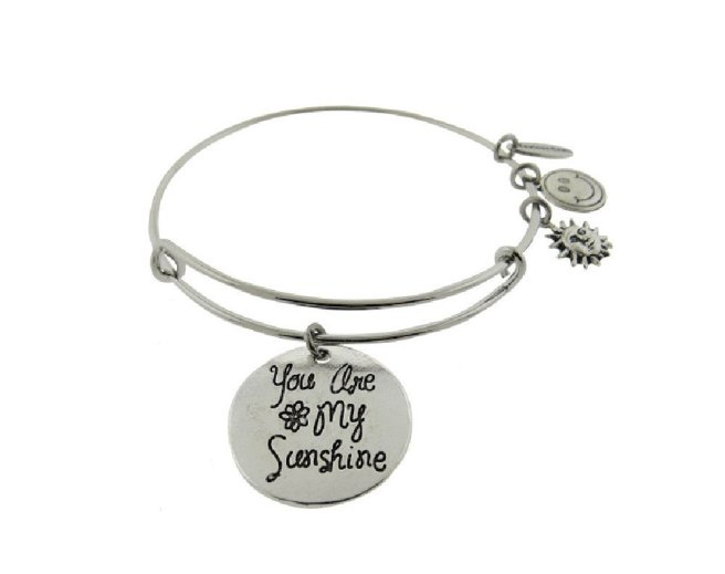Envious Gems You Are My Sunshine Silver Tone Expandable Wire Bracelet