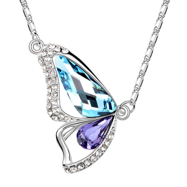 Envvious Gems Butterfly Aquamarine Amethyst Swarovski Elements Crystal Pendant Necklace