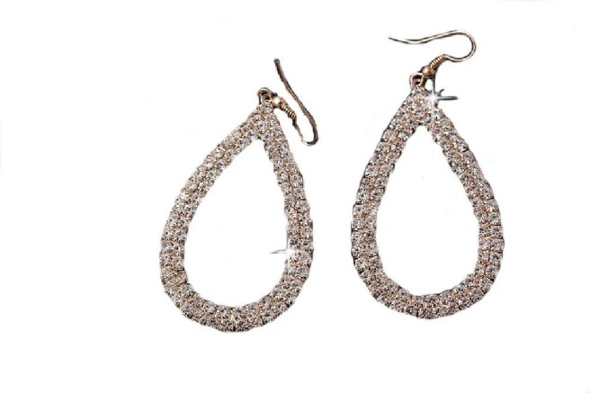 Envious Gems Large Gold Plated Crystal Open Teardrop Earrings