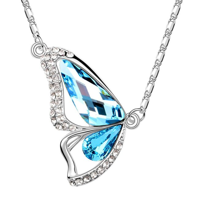 Envious Gems Butterfly Aquamarine Swarovski Elements Crystal Pendant Necklace