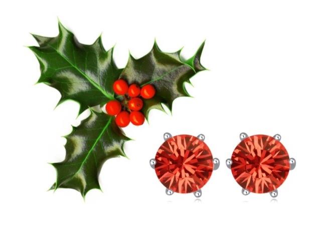 Envious Gems December Red Swarovski Earrings Flower Winter 2016
