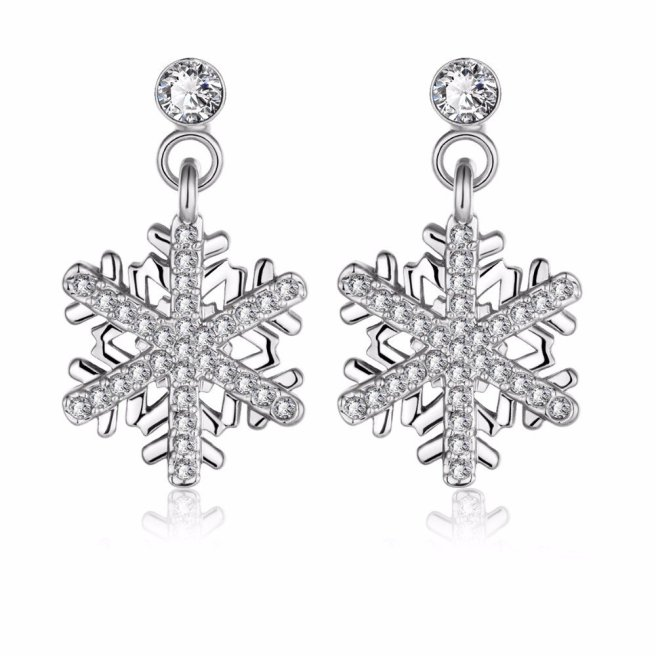 Envious Gems Elegant Rhodium Plated Crystal Snowflake Dangle Earrings
