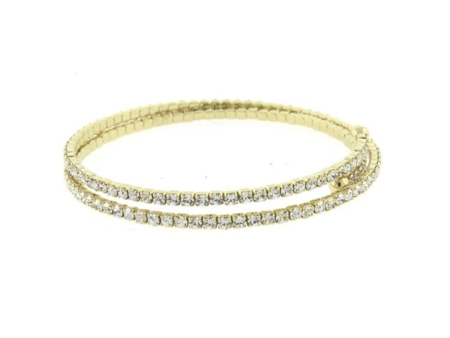 Envious Gems Gold Double CZ Flexible Spiral Bangle