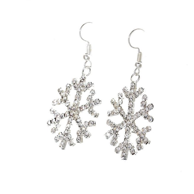 Envious Gems Gorgeous Large Silver Plated Crystal Snowflake Drop Earrings