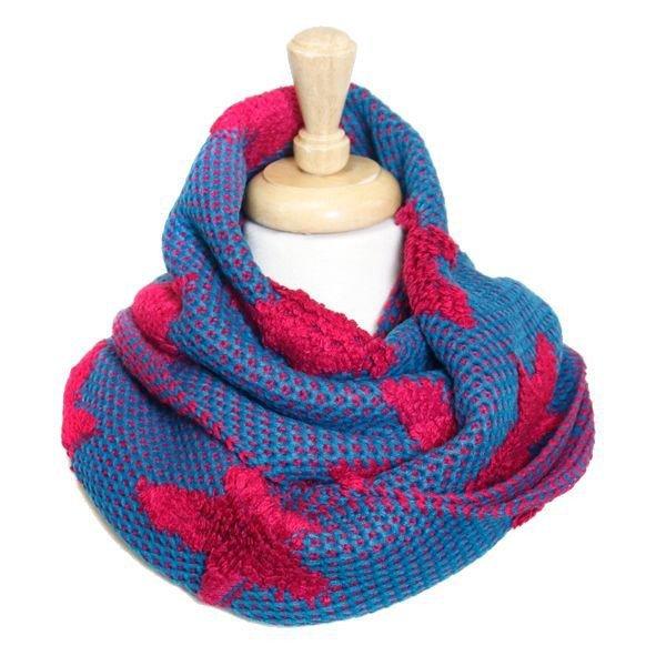 Envious Gems Bold Fuschia Star Knit Infinity Scarf
