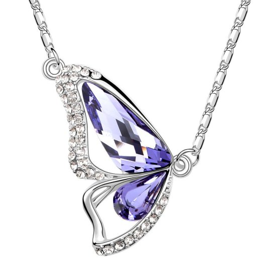 Envious Gems Butterfly Amethyst Swarovski Elements Crystal Pendant Necklace