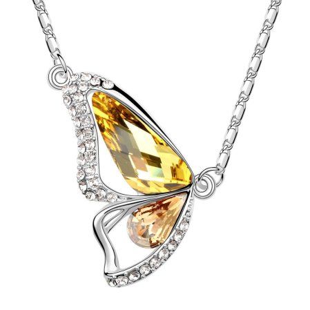 Envious Gems Butterfly Citrine Swarovski Elements Crystal Pendant Necklace