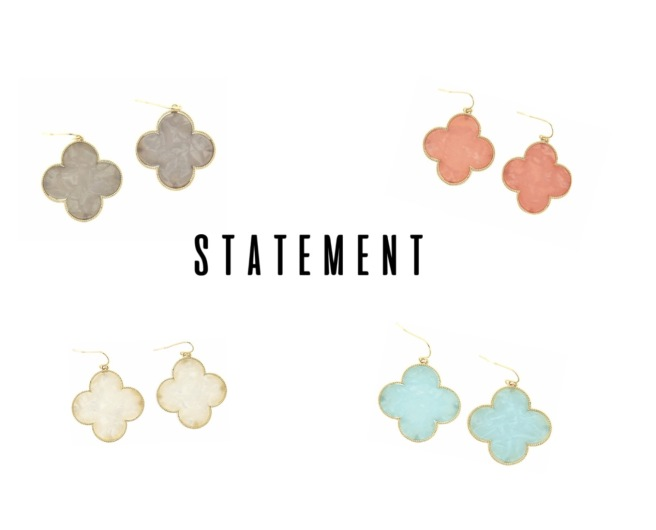 Envious Gems Clover Coral White Grey Aqua Statment Earring Jewelry 2017