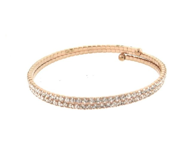Envious Gems Rose Gold Double CZ Flexible Spiral Bangle