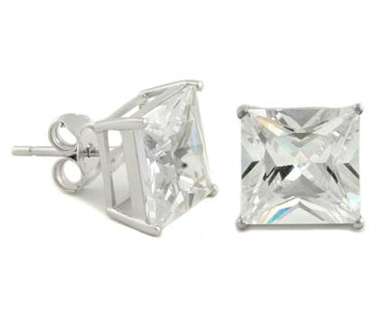 Envious Gems Sterling Silver 7mm Princess Cut CZ Stud Earrings