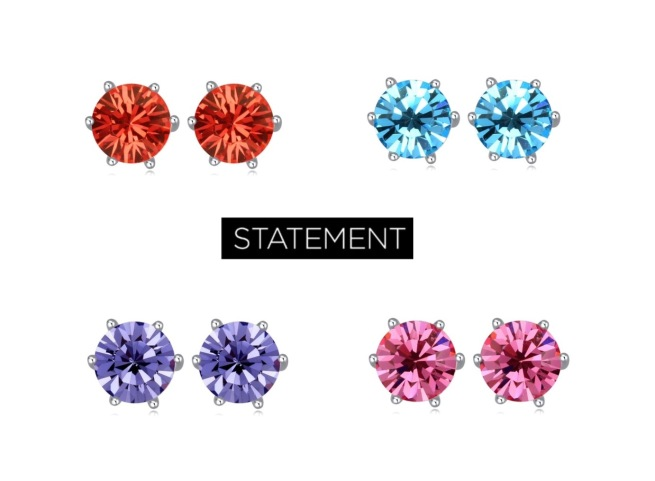 Envious Gems Swarovski Element Crystal Stud Earrings Rose Aquamarine Tanzanite  Jewelry 2017