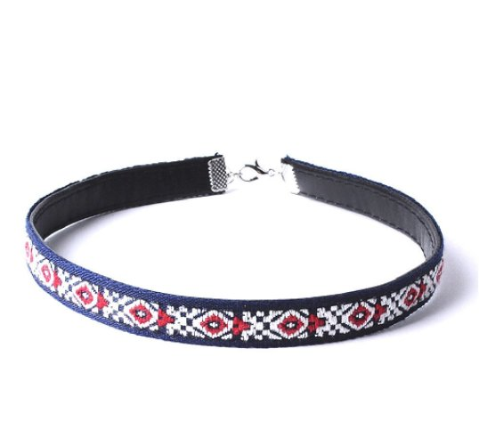 Envious Gems American Multi Color Leather BoHo Choker Necklace