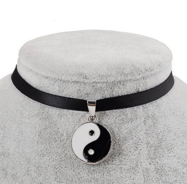 Envious Gems Black Velvet Ribbon Yin Yang Choker Necklace