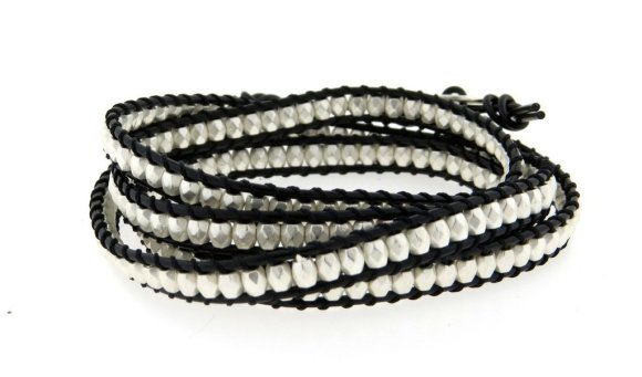 Envious Gems Classic Silver bead Wrap Leather Bracelet