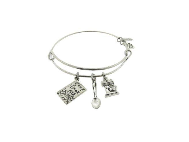 Envious Gems Cook Book Silver Tone Expandable Wire Bracelet