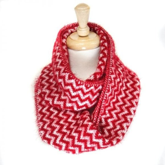 Envious Gems Fluffy Red Chevron Pattern Infinity Scarf