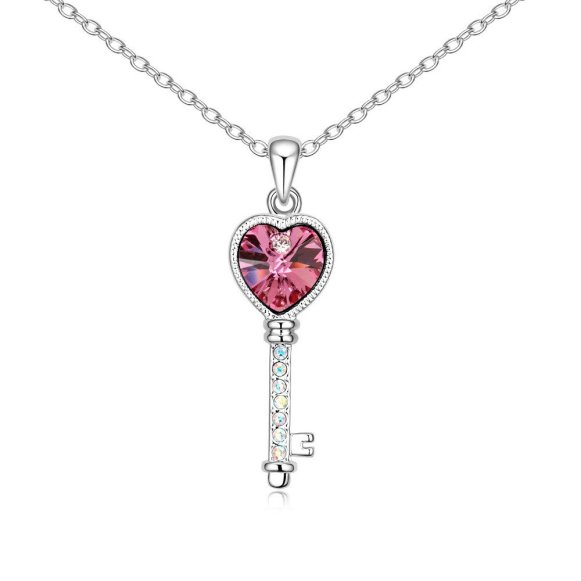 Envious Gems Lover's Heart Key Rose Swarovski Elements Crystal Pendant Necklace