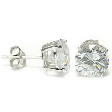 Envious Gems Sterling Silver 7mm Brilliant Cut CZ Stud Earrings