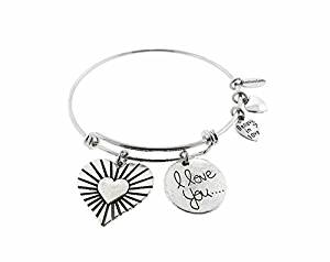 Envious Gems Valentine's Heart I Love You Silver Tone Expandable Wire Bracelet